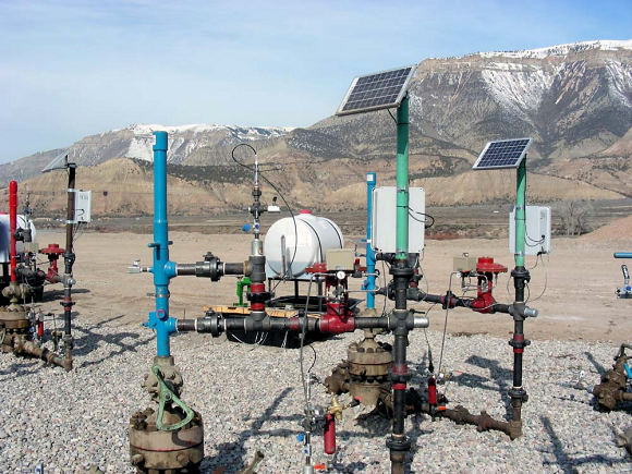 Fig. 1: Sensor networks in remote locations, such as an oil and gas setting, are enabled by M2M wireless communications.