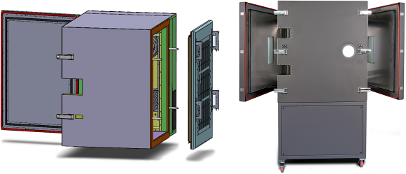 Fig. 5: Combination hinged and removable door (left). Multiple hinged doors – opposing or adjacent sides (right).