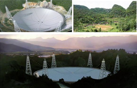 Fig. 1: FAST, situated in the remote mountainous terrain of Chinese province of Guizhou, is destined to be largest radio telescope to date.