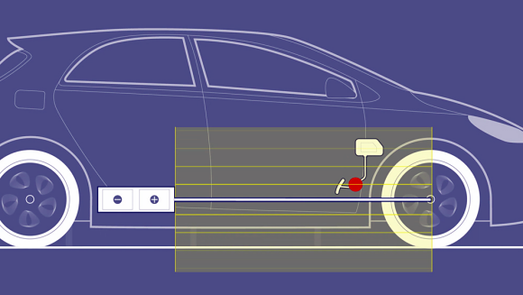 Fig. 1: The extent of the stray magnetic field from a high-voltage power line in an EV or HEV is easily large enough to affect safety-critical systems such as the brake pedal.