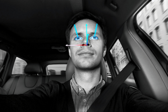 Fig. 3: Face detection systems inside the vehicle can detect driver fatigue and discern where his or her attention is directed.