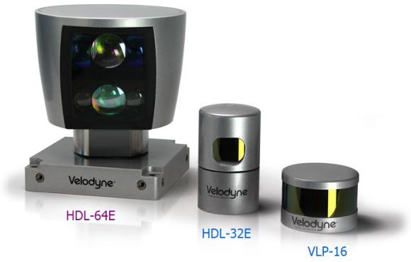 Fig. 5: LIDAR sensor alternatives provide (left to right), 64, 32, and 16 pixel vertical resolution.