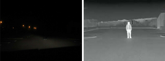 Fig. 6: Note the difference in temperature of the head and legs versus the torso in this FIR image example of a person standing after dark, sensed in the visible spectrum (left) and the far infrared spectrum (right).