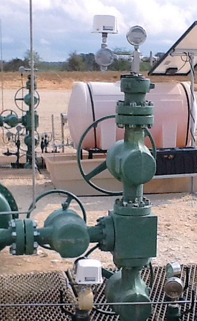 The remote system provides cost-effective remote monitoring of well-pad tubing and casing pressures in upstream oil- and gas-fields. As a truly wireless system, it is significantly less expensive that an equivalent wired system – particularly if trenching is required. Tubing and casing pressures as well as heater-treater temperatures, gas flare temperatures, tank levels, flows, well shut-in, RTUs, and other oilfield measurements and controls can be seamlessly integrated into a single system using telemetry equipment.