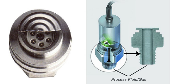 Fig. 3: Sensor with very this thin welded diaphragm and oil filled cavity (left), a major source of contamination if the thin diaphragm ruptures. One piece design by AST (right) with thicker diaphragm and no filled fluid cavity.