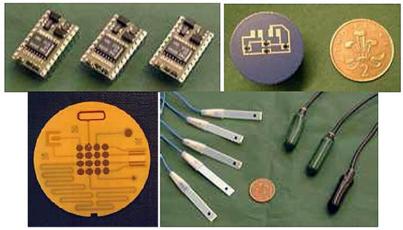 Fig. 4: Transmitters incorporating an operational amplifier (upper left), pressure sensor in a gearbox (upper right), water quality sensor (lower left), chemical sensors (lower right).