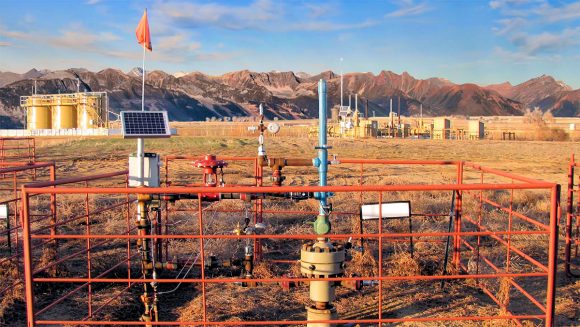 Fig. 2 Here is a remote gas well with low power pressure sensors and wireless telemetry system with a solar panel-lithium battery power unit.