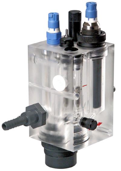 Fig. 10: Flow cell for amperometric chlorine sensor.