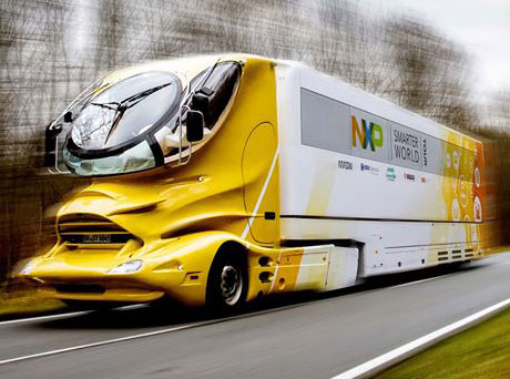 NXP IoT truck on the open road.