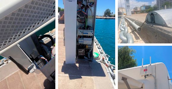 Fig. 2: Sensors and gateway installed in Patras port