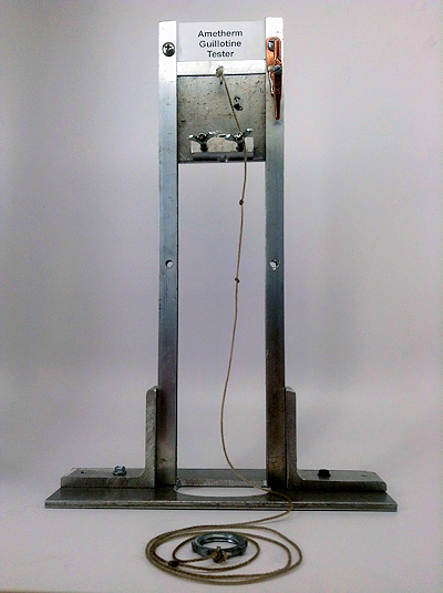 Fig. 2: Guillotine setup used for testing the TTC. The test medium would be placed below this, and is not shown.