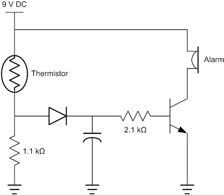 Fig. 5: Schematic of a fire alarm circuit that uses a thermistor to sense the temperature. If the resistance drops (negative coefficient) when the temperature rises, then the voltage divider point moves up. At roughly 1.4 V, the transistor will turn on, sounding the alarm. The TTC determines how long it takes for the circuit to respond. A practical implementation would likely need a way to silence the alarm while heat was still present.