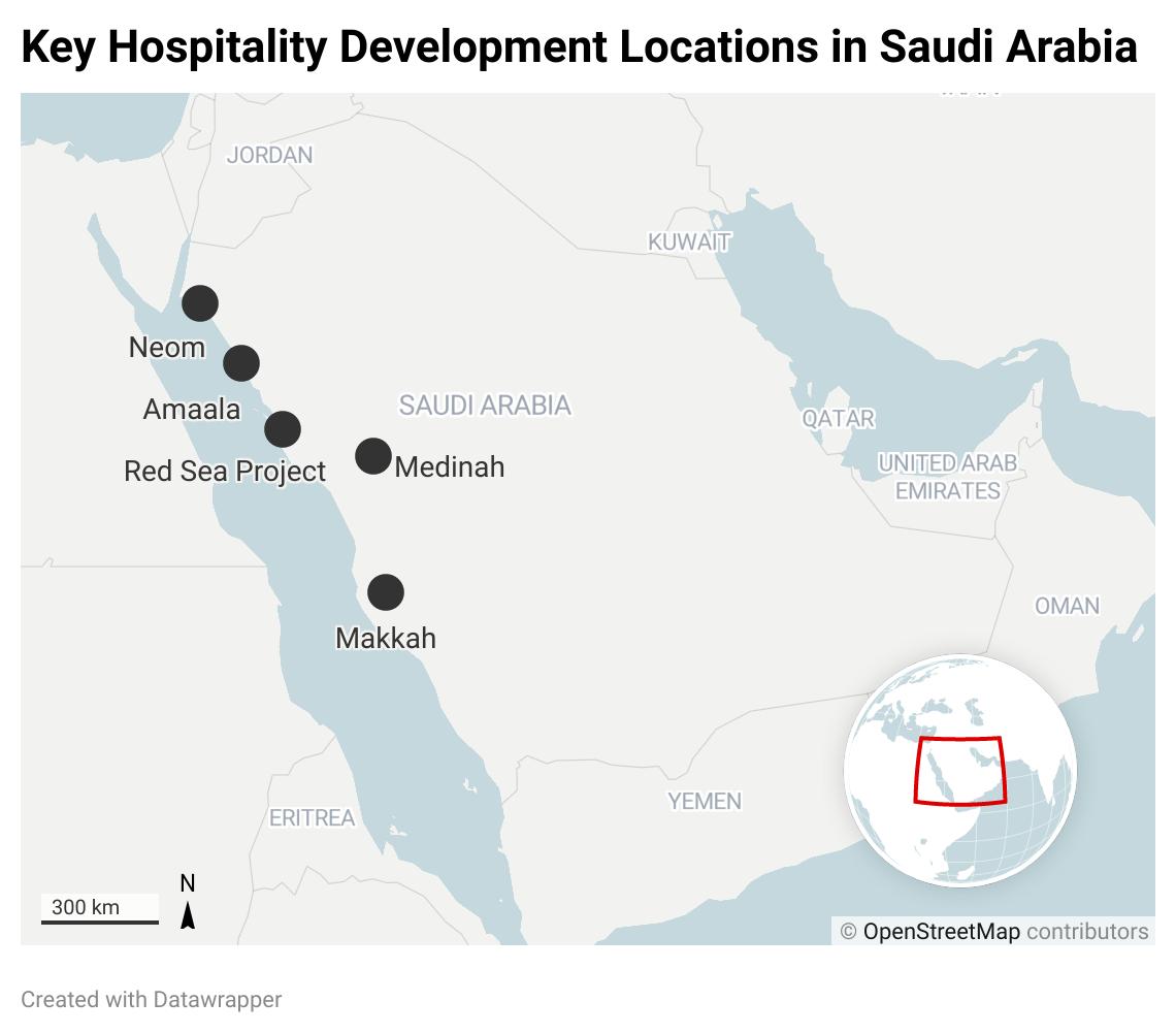 A map of Saudi Arabia
