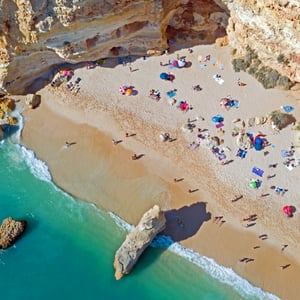 Aerial top shot from Praia da Marinha in the Algarve Portugal
