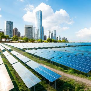 Shanghai urban landscape, landmarks and solar panels
