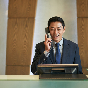 receptionist calling on the phone