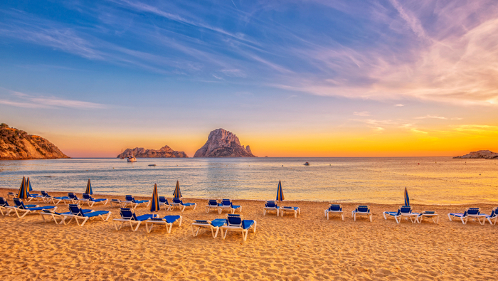 Sunset beach at Cala d´Hort on Ibiza