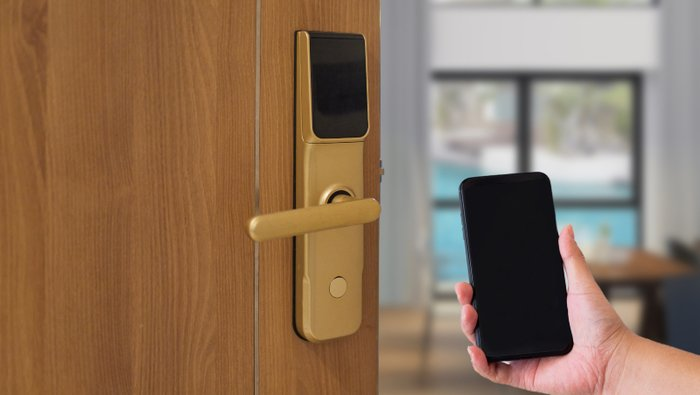Hotel door security unlocking by application on mobile phone