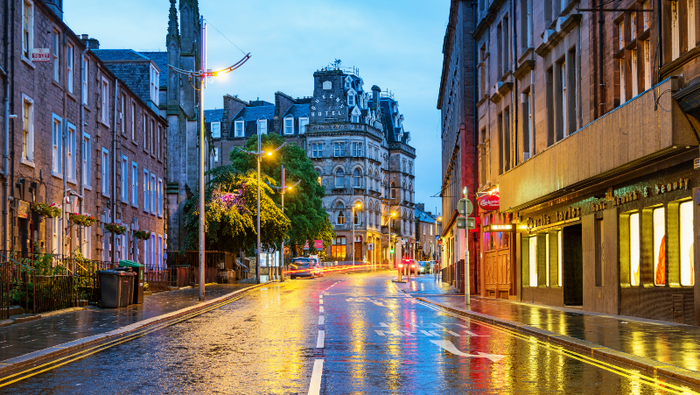 Street with hotel in Dundee, Scotland
