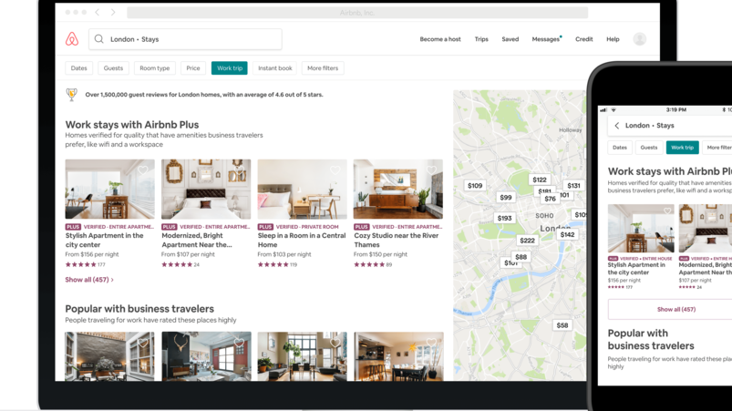 Airbnb For Work screengrabs