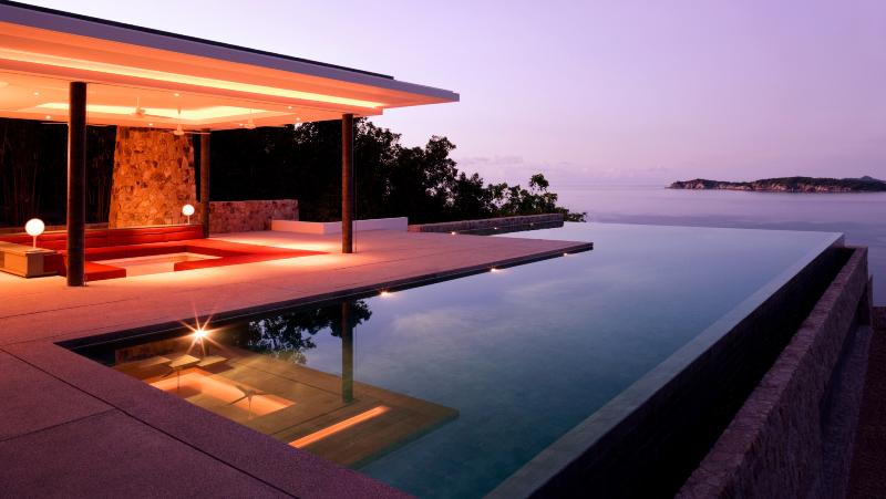 Luxury Island Villa Home In The Tropics Along The Coastline At Sunrise