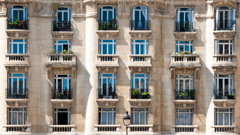Facade of the Parisian freestone building