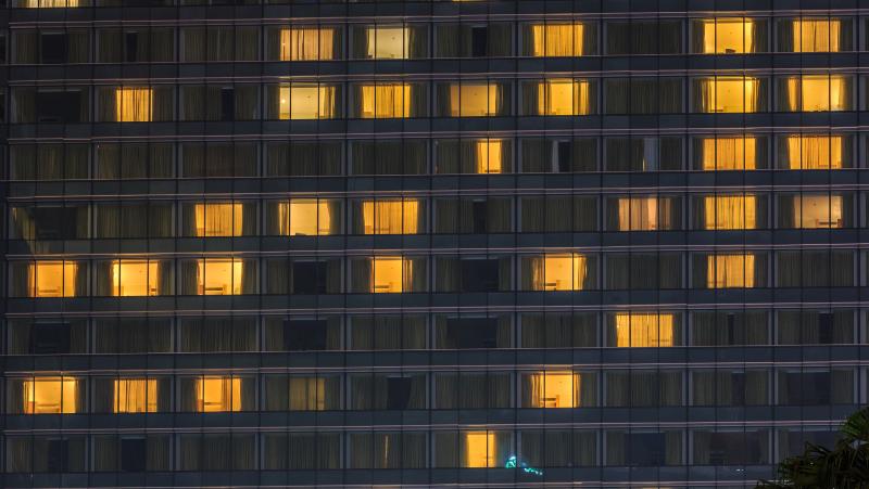 Condo Windows At Dark Night