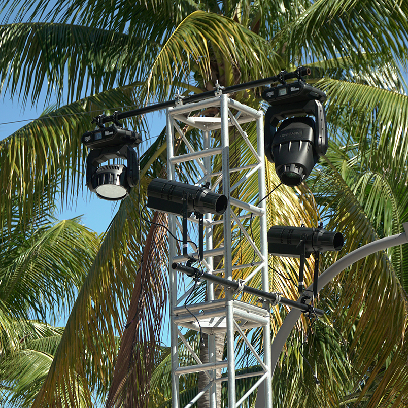Antennas for the Multiverse wireless DMX/RDM system mounted on top of tower trusses at Super Bowl LIVE at Bayfront Park in Miami, Florida.