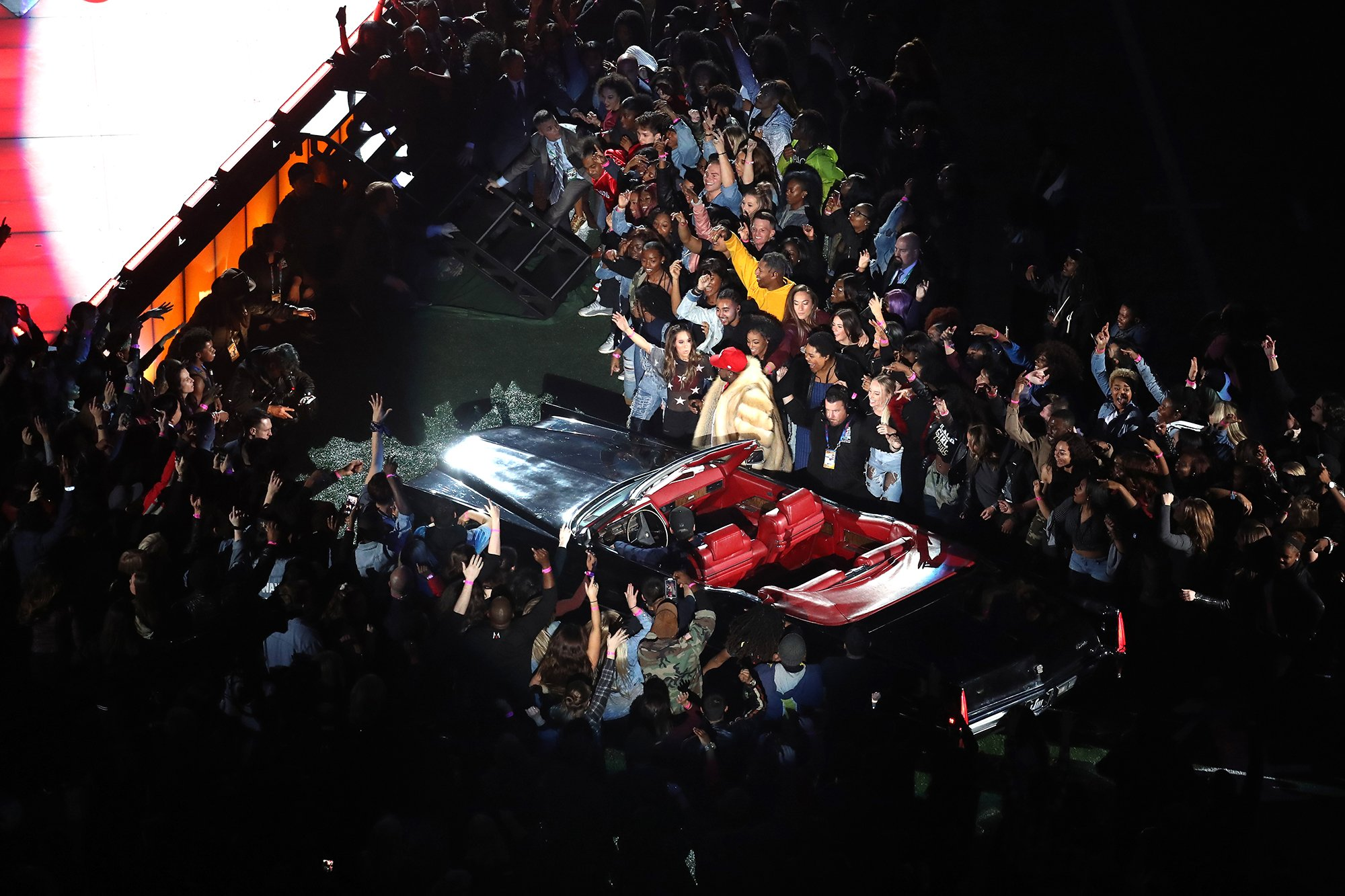 Lighting car with followspots at Super Bowl LIII Halftime Show