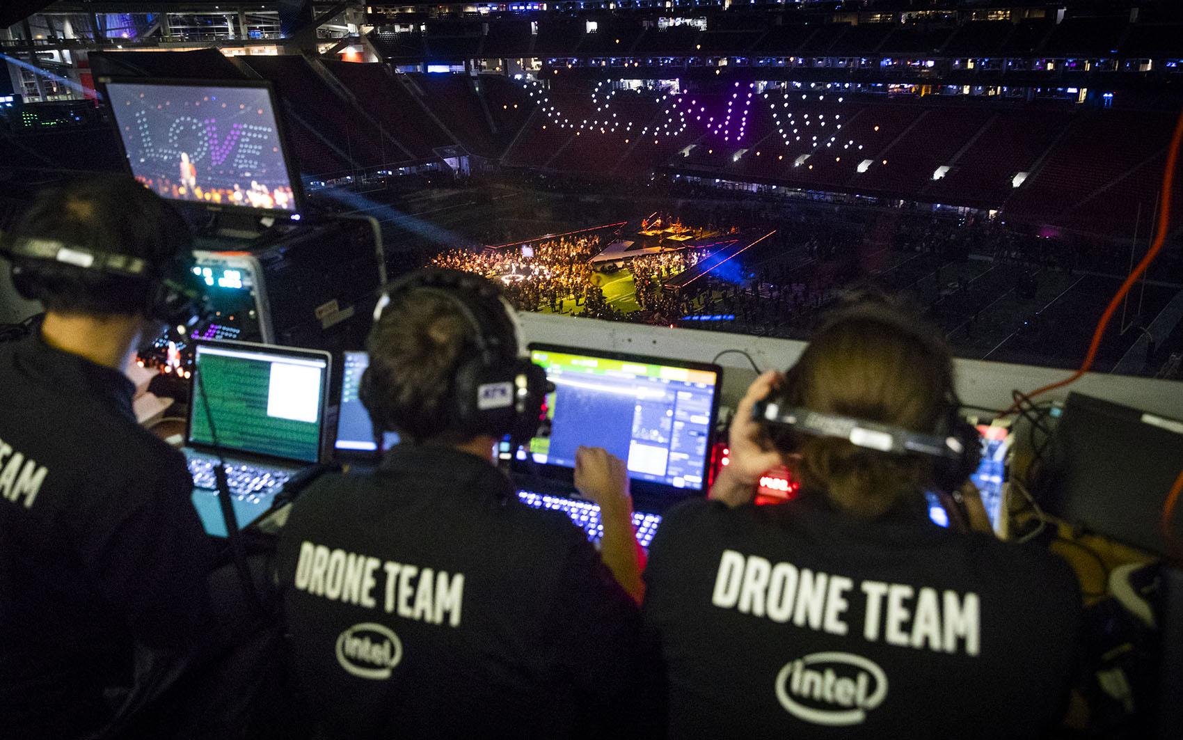 Intel Live Drone Light Show at Super Bowl LIII Halftime Show