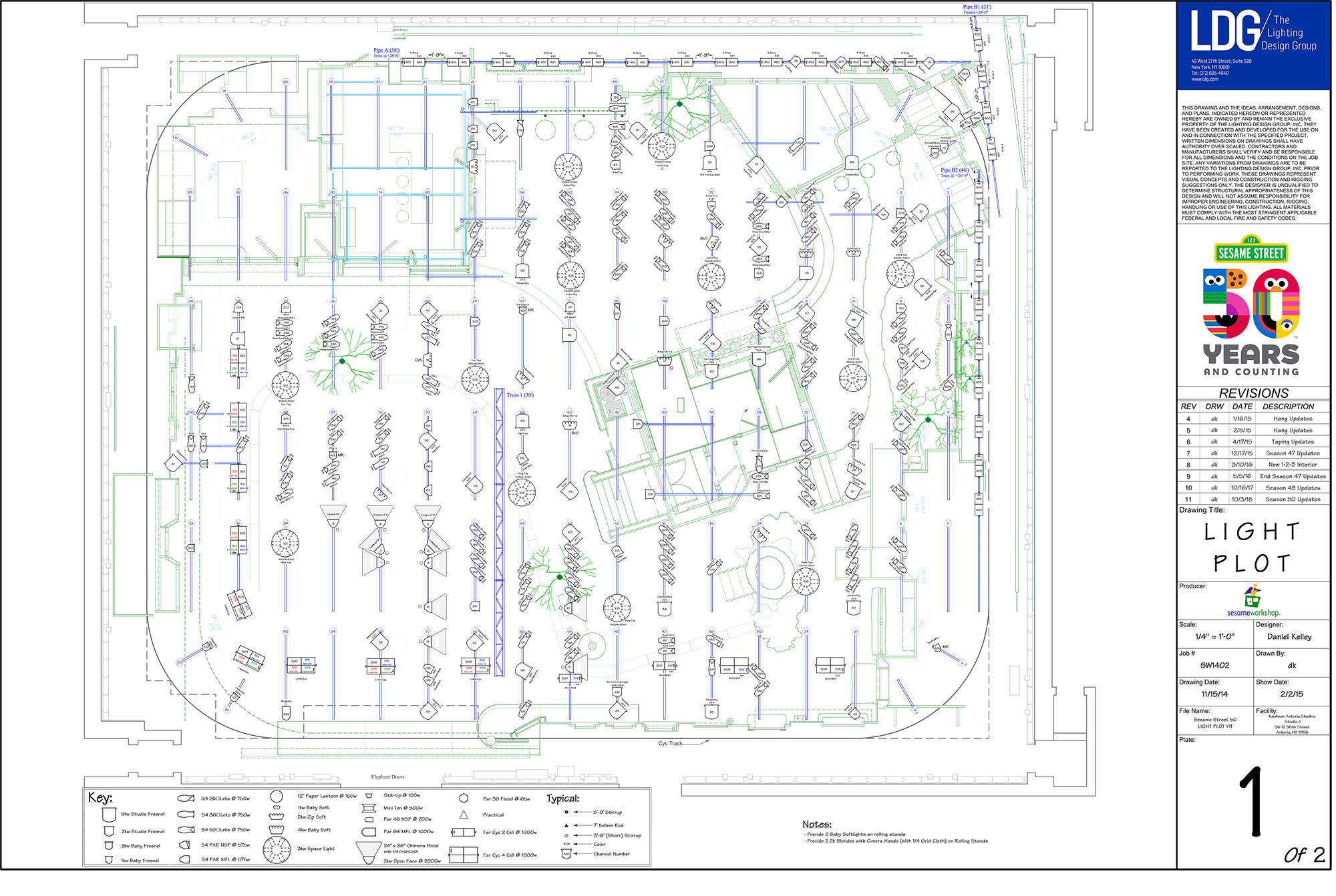 Lighting plot for Sesame Street