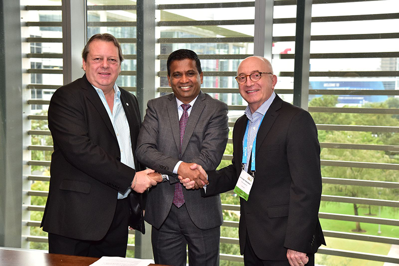 From left to right: Sergio Baritussio, Director of FIEXPO, Senthil Gopinath, ICCA CEO and Arnaldo Nardone of Director of FIEXPO