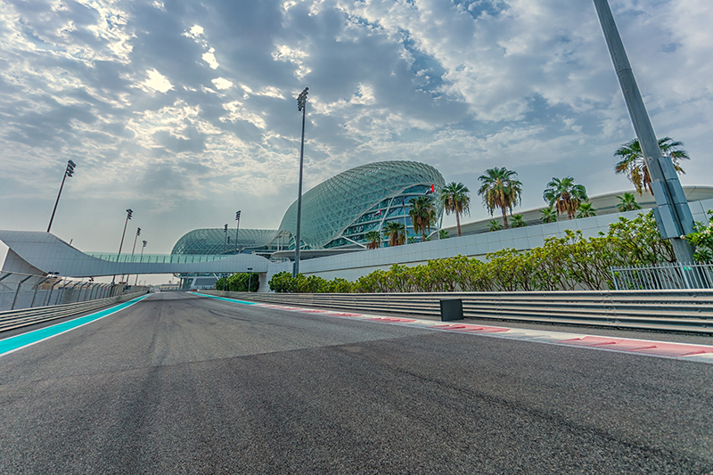 Yas Marina Circuit running through the W Hotel Yas Island