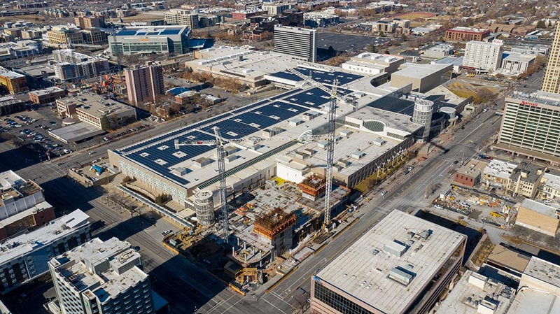 Aerial view of construction of Hyatt Regency Salt Lake City. Photo Visit Salt Lake.