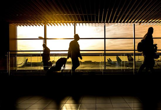 Business traveler in an airport