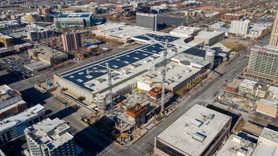 Aerial view of construction of Hyatt Regency Salt Lake City. Photo Visit Salt Lake.