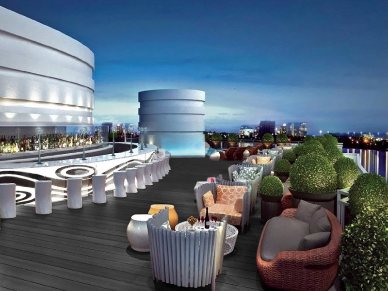 Rooftop bar, chairs and tables