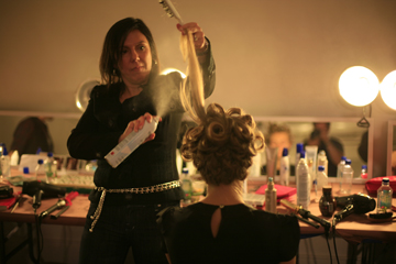 Donna Maggi for Nioxin backstage at Alvin Valley