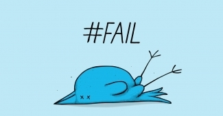 twitter bird knocked over