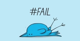 twitter bird knocked over