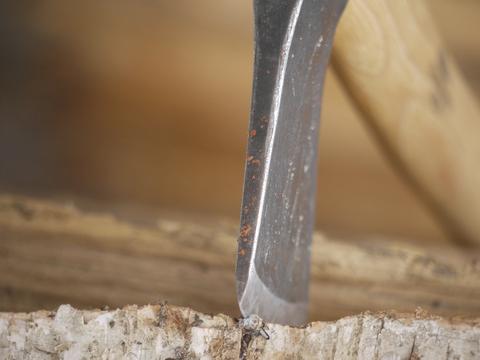 An axe in a stump