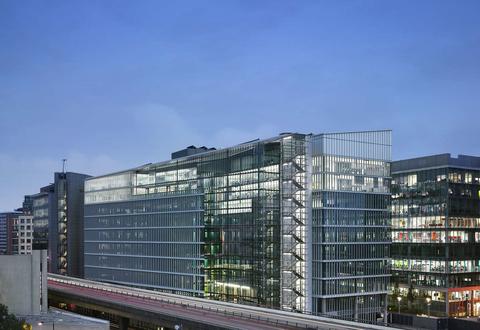 Modern glass office building exterior