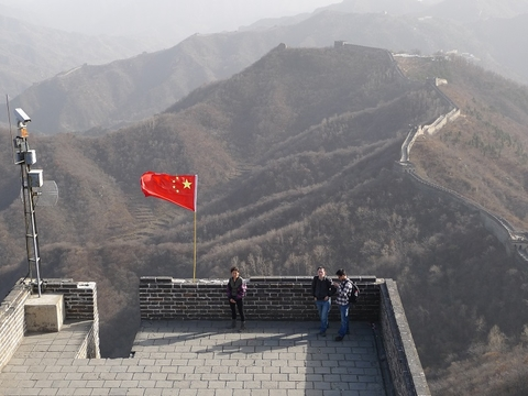 Chinese flag on Great Wall of China