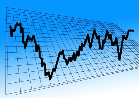 line graph on blue background