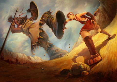 A painting of David battling the giant Goliath