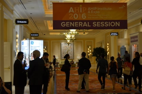 Business people mingling at the 2016 AHIP conference