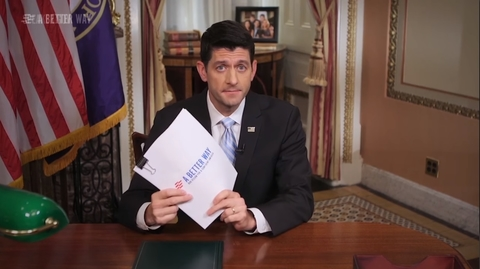 """Paul Ryan holding up """"A Better Way"""" document"""