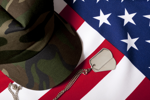 Military cap and dog tags on to of American flag