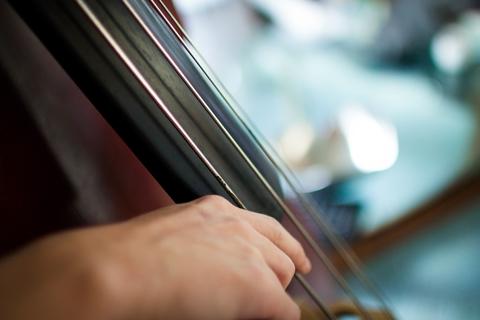 Closeup of hand on cello