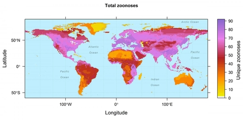 World maps could help predict animal to disease ... on wound map, vegetation map, baldness map, human microbiome map, ciguatera map, ebola in us map, addiction map, infection map, dilation map, prevalence map, actuary map, health literacy map, hiv map, membrane map, pathogen map, climate map, feces map, flowering map, acute renal failure concept map, heredity map,